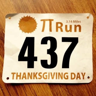 Pi Run 3.14 miles number 437 Thanksgiving Day