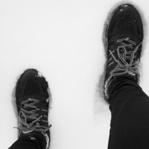 Trail running shoes in the snow
