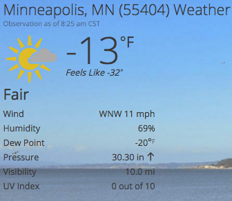Minneapolis MN -13 degrees F and feels like -32