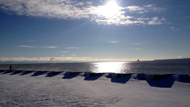 Chilly view from the Lakeshore path in Milwaukee