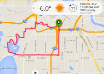 Mapped out running route and cold temperature reading