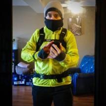 Elizabeth dressed in winter running gear