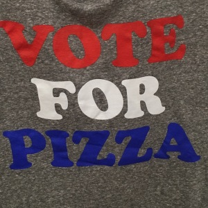 Vote for Pizza printed on a t-shirt
