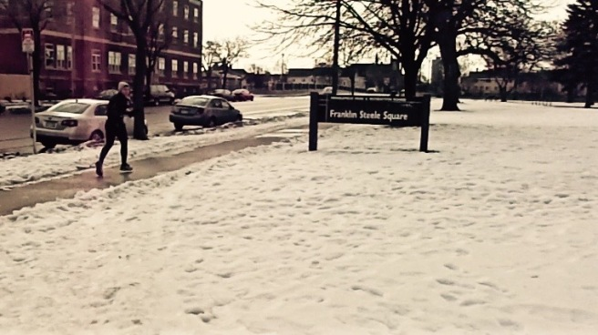 Snow on the ground at Franklin Steele Park
