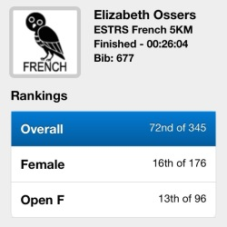 Elizabeth Ossers ESTRS French 5K finish time 26:04 overall 72nd of 345