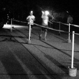 Cristina and Elizabeth finishing the Midnight Owl race
