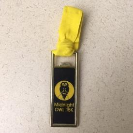 Midnight Owl 15K finishers medal